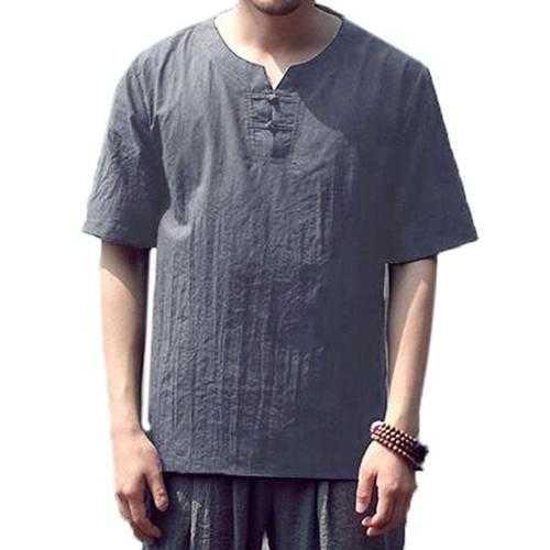 Men's Casual Cotton Linen Crew Neck Vintage T-shirt