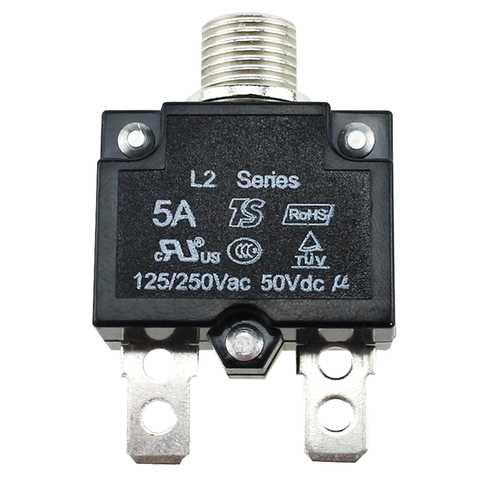 AC 125-250V Push Button Reset Quick Connect Terminal Circuit Breaker Plastic