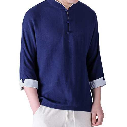 Chinese Wind Men's Casual Breahtable Linen Cotton T-shirt