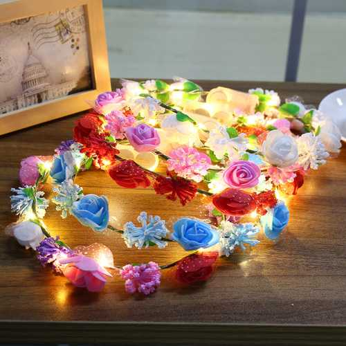 Battery Powered LED Flower Wreath Headband Crown Floral Garland Holiday Light for Party Festival