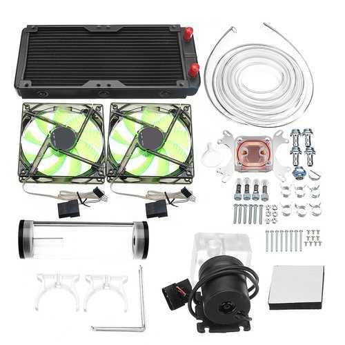 240mm DIY PC Water liquid Cooling Fan Kit Heat Sink Set CPU Block Water Pump Reservoir Hose