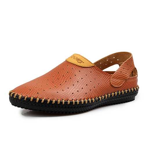 Men Breathable Hollow Outs Genuine Leather Sandals