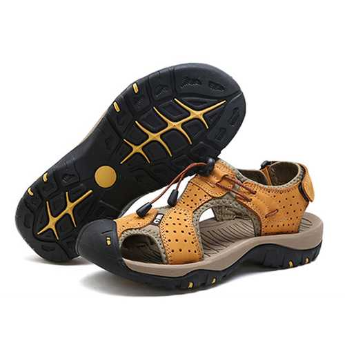 Men Breathable Hollow Outs Adjustable Lace Up Sandals