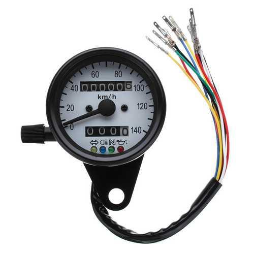 12V Motorcycle Dual Odometer KMH Speedometer Gauge LED Backlight Signal Light