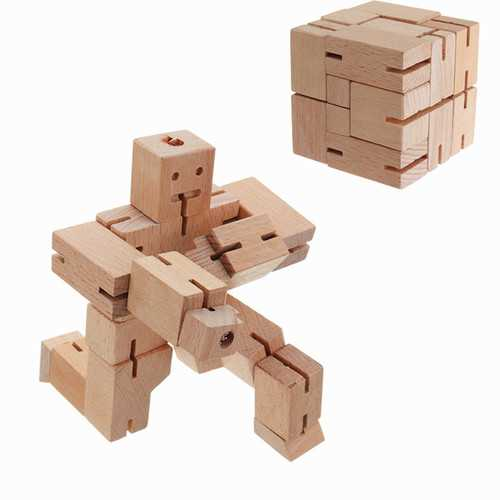 9 PIG Transformable Wooden Stikbot Sucker Cube Robot Deformable Foldable Action Figure Puzzle Toys