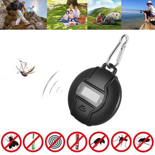 Loskii D3 Portable Solar/USB Ultrasonic Pest Repeller Outdoor Handheld Pests Control Anti Mosquito Repellent with Compass for Camping Travel