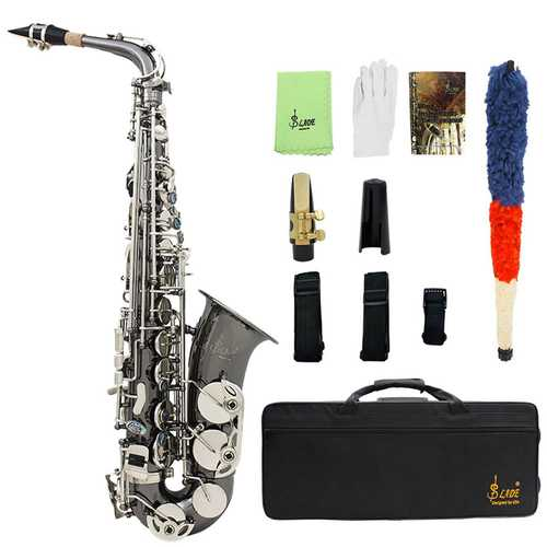 LADE Black Nickel Eb Alto Saxphone Silver E Flat Saxophone Sax with Bag Clean Tools