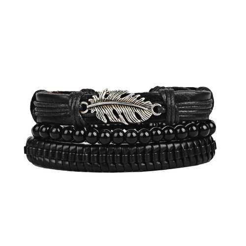 3Pcs/Set Punk Black Multilayer Woven Leather Bracelet