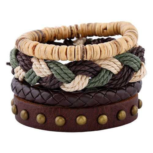 Bohemian Weave Hemp Rope Bracelet Vintage Multilayer Cowhide Leather Bracelets Jewelry for Men
