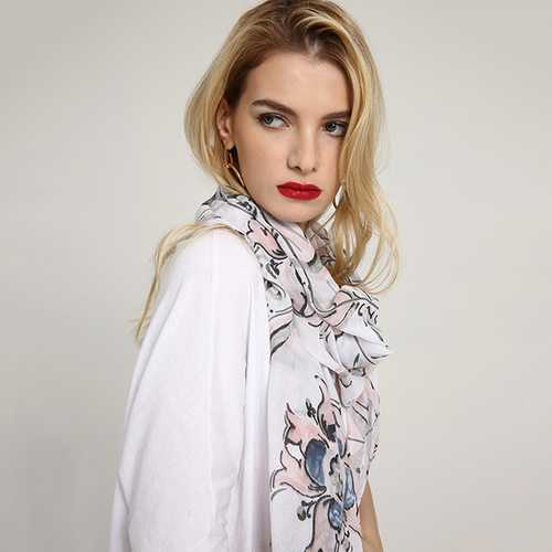 Linen Lightweight Watercolor Printting Scarf Soft Shawl