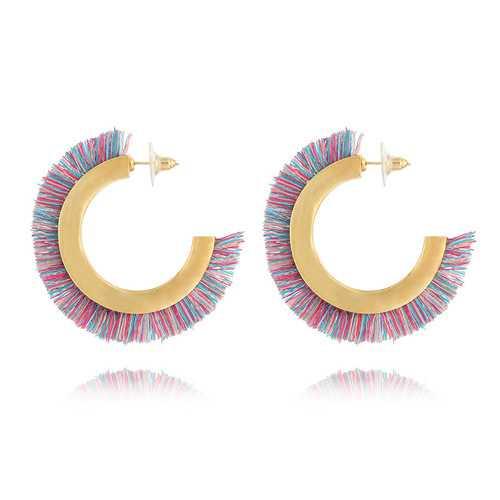 Bohemian Colorful Semicircle C Shape Tassel Earrings