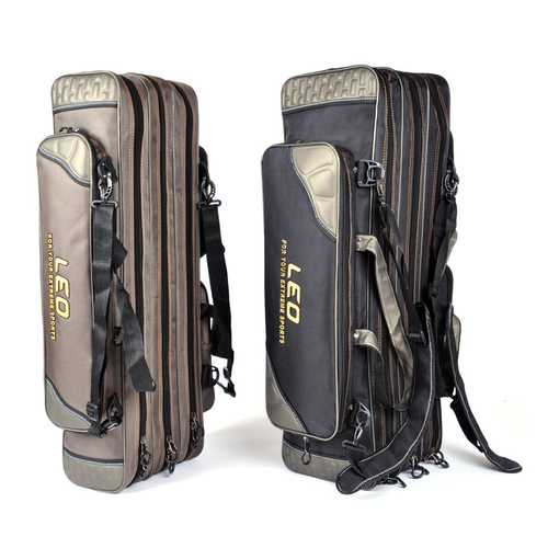 LEO S/L Canvas 3 Layers Waterproof Fishing Bag Fishing Rod Reel Line Storage Bag Shoulder Tool Bag