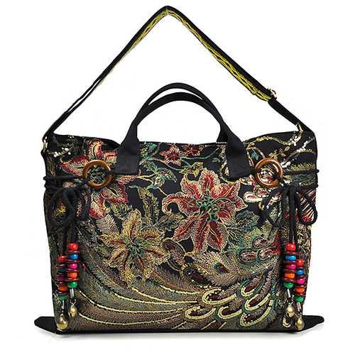 Brenice Women Peacock Canvas Tote Handbag Chinese National Shoulder Crossbody Bag