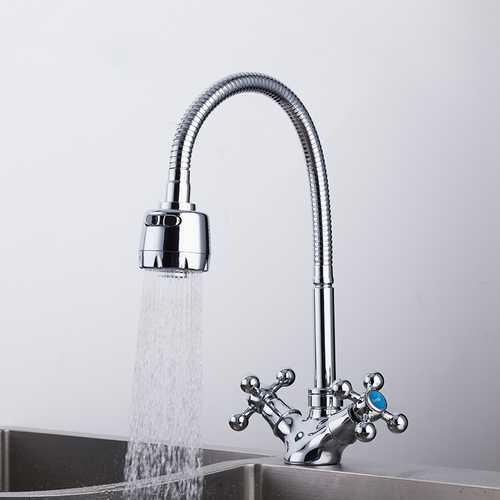 FRAP F4319 High Quality Kitchen Desk Mounted Silver Double Handles Sink Faucet Single Hole Mixer Basin Faucet