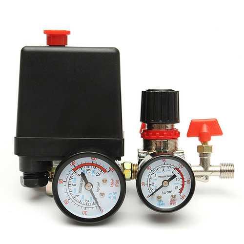 120PS Air Compressor Pressure Valve Switch Manifold Relief Regulator Gauge