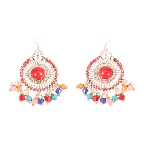 Bohemian Colorful Women's Bead Tassel Drop Earrings
