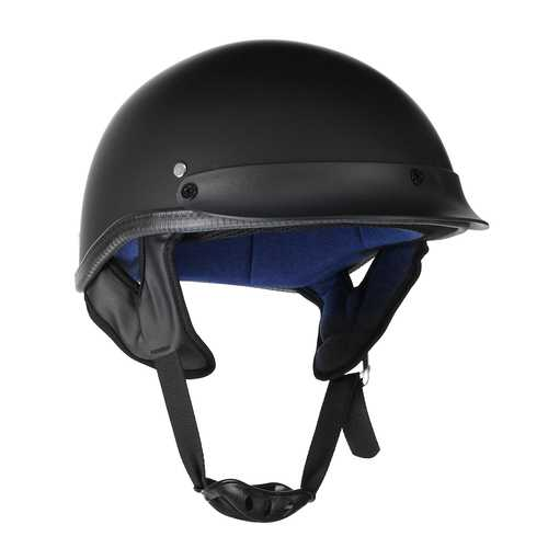 Motorcycle German Style Half Face Helmet Scooter Bike Matt Black M/L/XL DOT