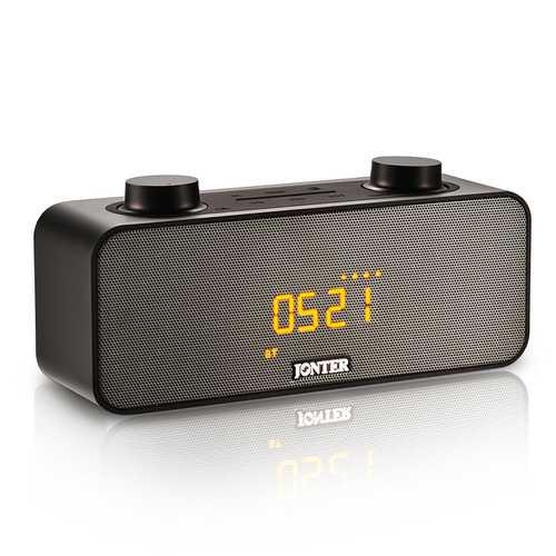 JONTER M39 Alarm Clock LED Displayv Stereo Bluetooth Speaker With Mic FM Radio AUX TF Card
