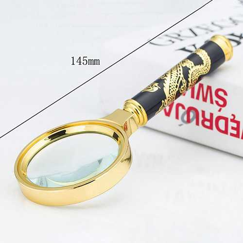 HD 8X Embossed Dragon Handle Magnifying Overgild Glasses