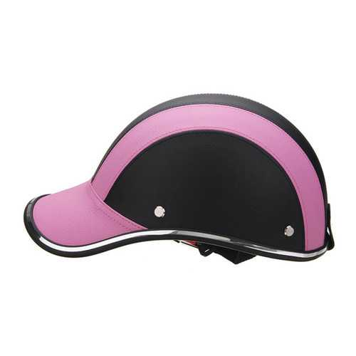 Black & Pink Anti-UV Motorcycle Bike Scooter Half Helmet Baseball Cap Hard Hat
