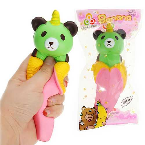 SanQi Elan Banana Bear Squishy 18*6cm Slow Rising With Packaging Collection Gift Soft Toy