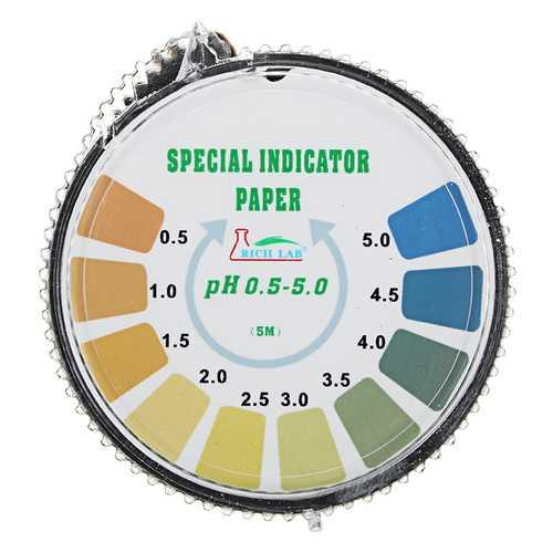 Precision PH Test Strips Roll Short Range 0.5-5.0 Indicator Paper Tester Dispenser Color Chart 5m/16.4 ft
