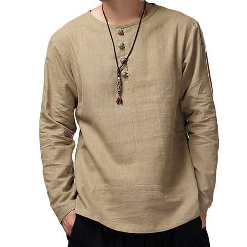 Charmkpr Mens Long Sleeve Cotton Linen Vintage T-Shirt