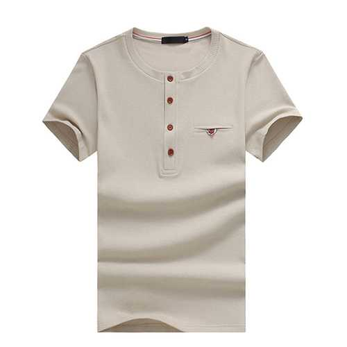 Men's Casual O-neck Single Breasted Tee Tops