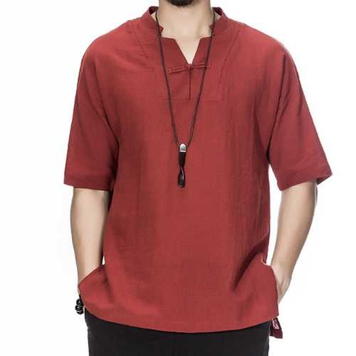 Men Chinese Style Cotton Linen Loose Short Sleeve T-Shirt