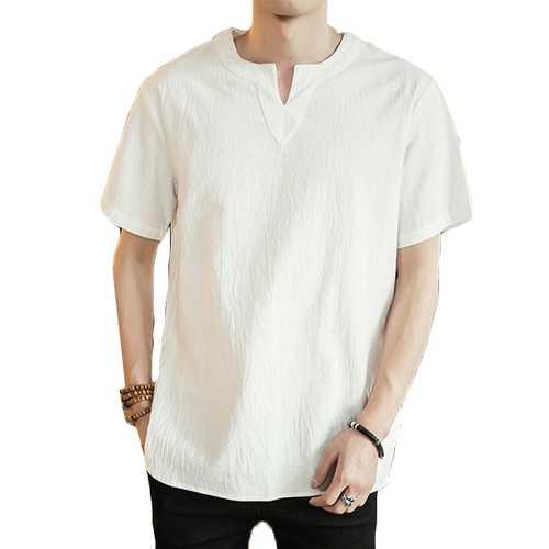 Men's Comfort Breathable Cotton Fashion V-neck T-shirts
