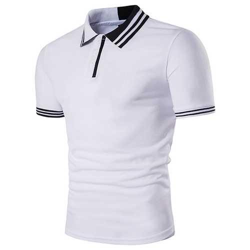 Men's Color Blocking Slim Casual Golf Shirts