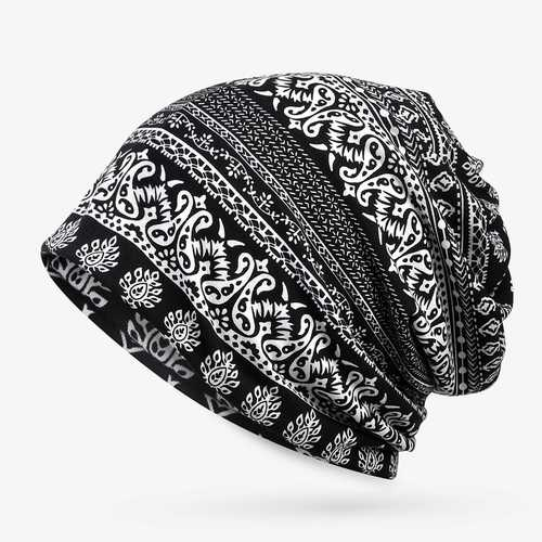Ethnic Printting Beanie Hats Scarf Cotton Double Use Turban