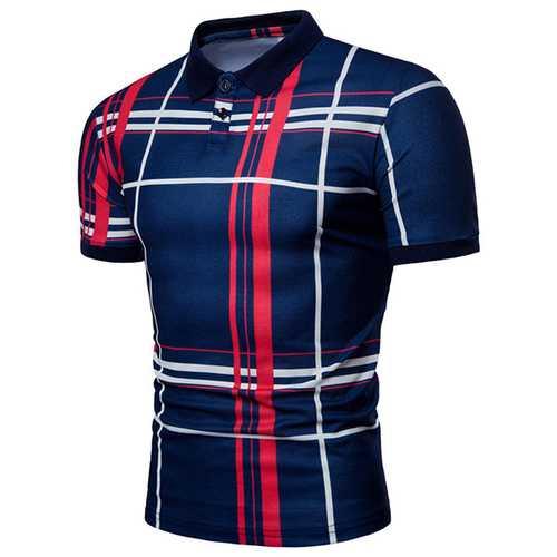 Casual Men's Mix Color Plaid Golf Shirt