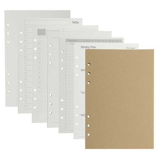 A5 Loose Leaf Notebook Refill Spiral Binder Inside Paper Dairy Weekly Monthly Plan To Do Line Kraft