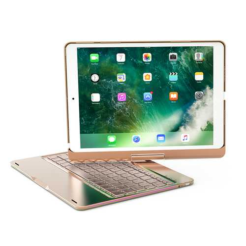 360º Rotation 7 Colors Backlight Bluetooth Aluminum Keyboard Case For iPad Pro 10.5""