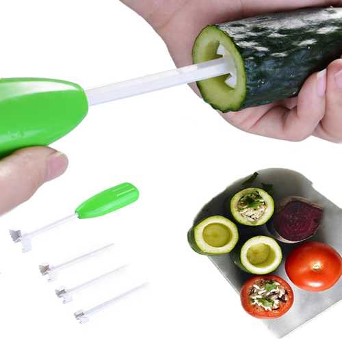4pcs Replaceable Head Vegetable Spiral Cutter Muti-funtion Vegetable Cutter Drill Spiralizer Digging Core Device