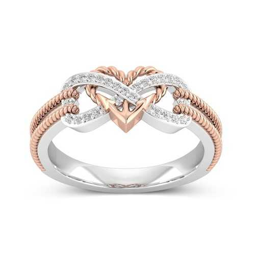 Special Zircon Inlaid Hollow Platinum Rings Heart Cross