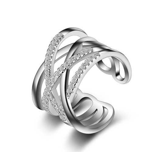 Stackable Twining Clear CZ Ring Dazzling Zirconia Rings