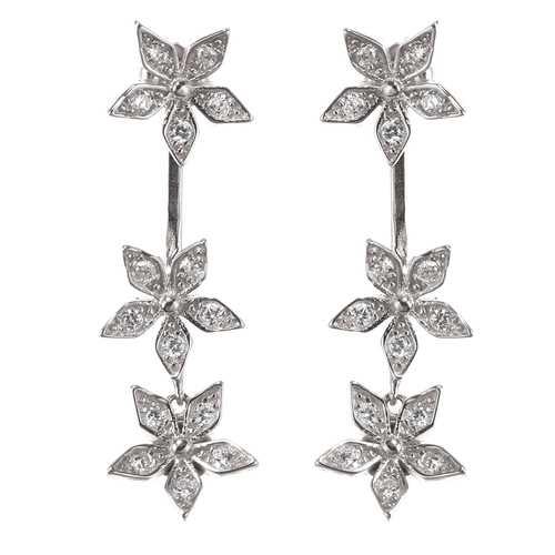 925 Sterling Silver Flower Earrings Dazzling Zirconia