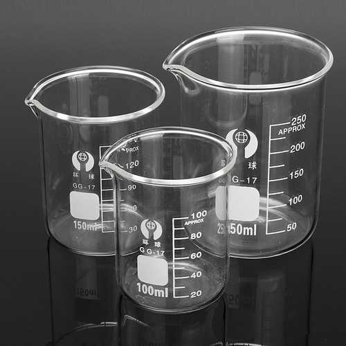 3Pcs 100ml 150ml 250ml Beaker Set Graduated Borosilicate Glass Beaker Volumetric Measuring Lab Glassware