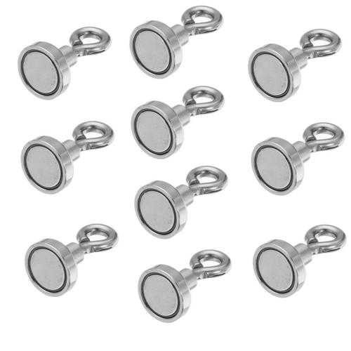 Effetool 10pcs 16mmx30mm 5kg Neodymium Recovery Magnet Metal Detector Claw Hook Magnet