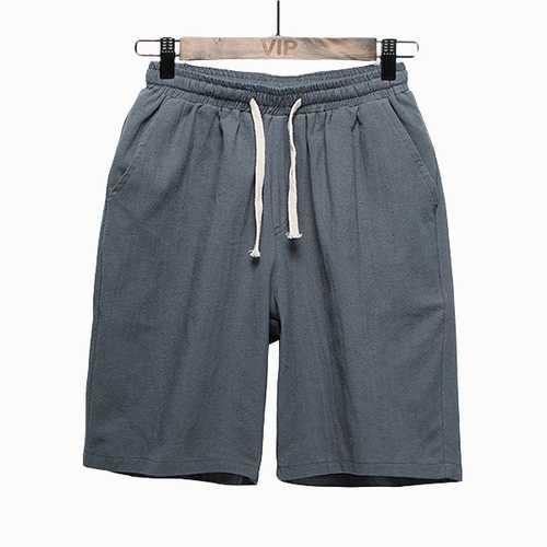 Mens Cotton Linen Casual Knee-Length Loose Shorts Pants