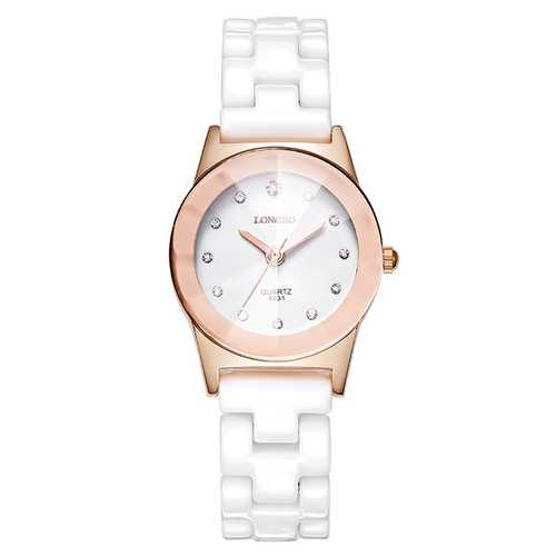LONGBO 8631 White Ceramic Diamond Waterproof Couple Watch