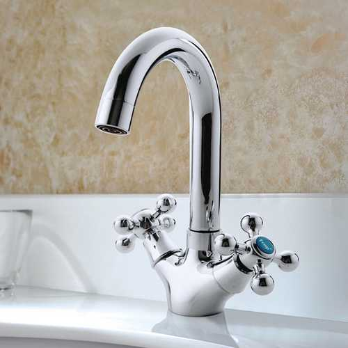FRAP F1319 Kitchen Deck Mounted Double Handles Hot and Cold Water Separate Switches Mixer Tap Sink Faucet