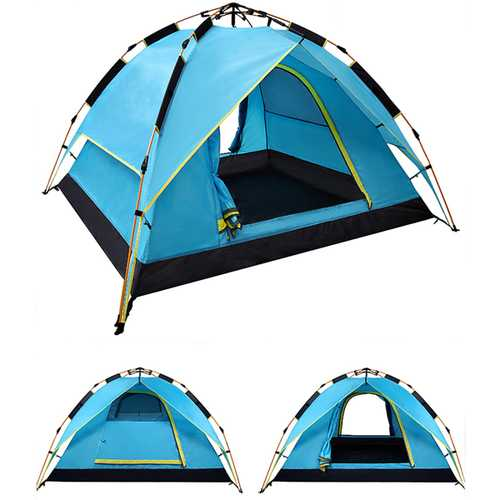 200 x 200 x 135cm 3-4 Person Camping Tent Dual Layer Waterproof Windbreak Portable Outdoor Equipment