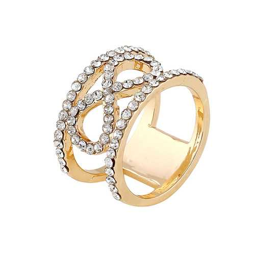 Trendy Alloy Rhinestone Rings Gold Color Finger Ring