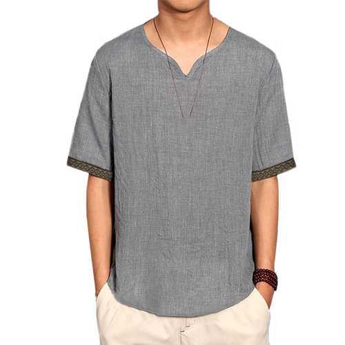 INCERUN Mens Half Sleeve V-neck Vintage T-Shirts