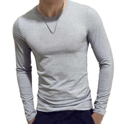 INCERUN Mens Elastic Cotton Slim Long Sleeve Base Shirt