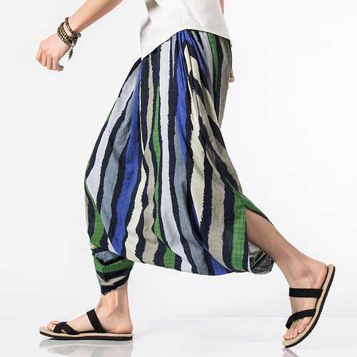 Charmkpr Mens Ethnic Style Color Stripe Printed Baggy Pants
