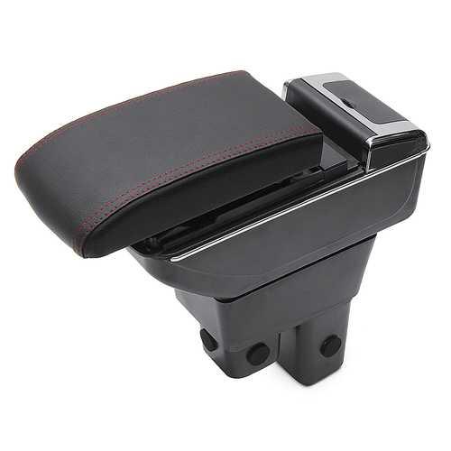 Black ABS Car Armrest Console Storage Box Organizer for Honda Fit Jazz 2009-2013